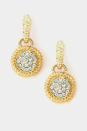 Karmas Canvas Round Rhinestone Braid Framed Dangle Earring (Gold)