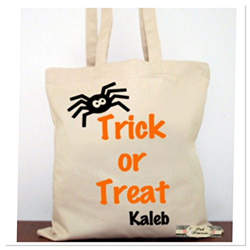 Personalized Trick Or Treat Bag, Personalized Halloween Bag, Halloween Favors. Halloween Costume Canvas Tote Child -
