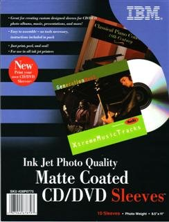 Ibm Photo - 10 IBM Photo Quality Matte Inkjet Printable CD/DVD Sleeves