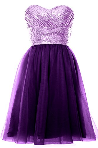 Gown Wedding Purple Party Strapless Lavender Dress Short Formal Sequin MACloth Cocktail Women xZqwPYz