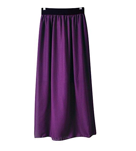 Molly Jupe Femme lastique Maxi Soire Longue Robe Mousseline Violet