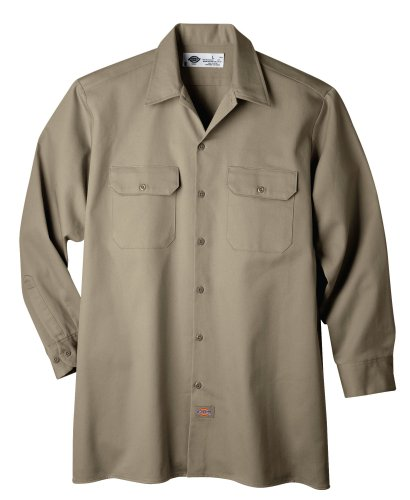 (Dickies Men's Long Sleeve Heavyweight Cotton Work Shirt, Khaki, X-Large)