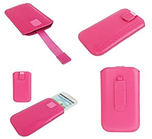DFV mobile® - Pouch Case Lines Embossing & Belt Loop & Pull Tab Velcro for => XOLO Win Q900S > Pink