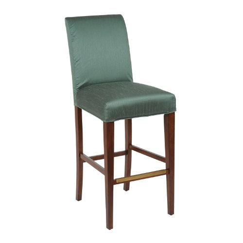 Bailey Street 6081207 Shore Barstool - Counter Stool Cover, Dark Walnut Finish with Verde Green Fabric Shade