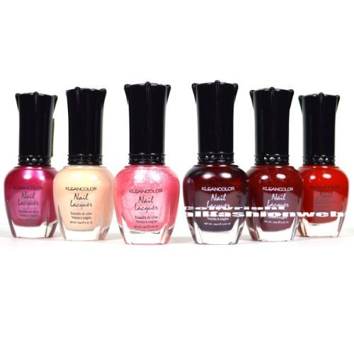 Kleancolor Nail Polish Pink & Red Collection New Girl in Town Lot of 6 Lacquer! + FREE EARRING
