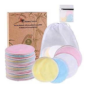 Tampons Démaquillants fibre de bambou丨disques coton demaquillant lavable丨(16pcs) + 2 Sac de lavage丨Fibre de bambou + velours(Devant et dos) 丨Lavable et réutilisable丨Boîte d'emballage biodégradable 12