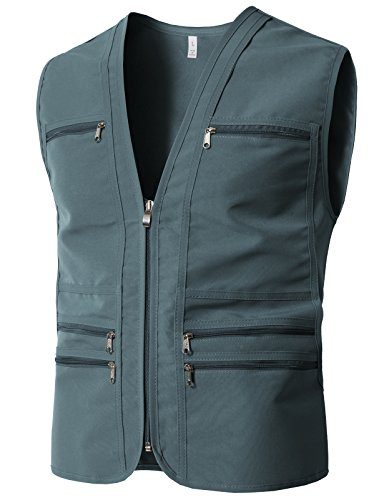 Vest Shooting Cloth (H2H Mens Outdoor Work Utility Journalist Sports Vest w/Multi Pockets Gray US L/Asia XL (KMOV0172))