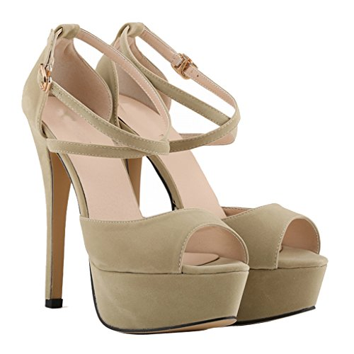 Women's Fashion Peep Toe Stiletto Slip On Platform Sandal Pumps High Heels Shoes beige velveteen uoqqslX83O