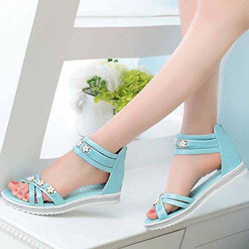 Transer® Damen Sandalen Ankle-strap Blume Künstliches PU+Gummi Beige Blau Rosa Sandalen (Bitte achten Sie auf die Größentabelle. Bitte eine Nummer größer bestellen) Blau