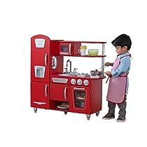 Kidkraft – Cocina de juguete Vintage de madera: rojo (53173)