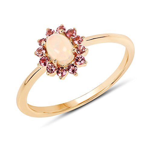 0.46 Carat Ethiopian Opal and Pink Tourmaline 14K Yellow Gold Ring from Johareez