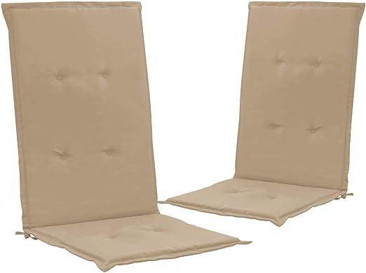Festnight Cojines para Sillas de Jardín Cojines para sillas de Exterior 2 Unidades Beige 120x50x3 cm: Amazon.es: Hogar