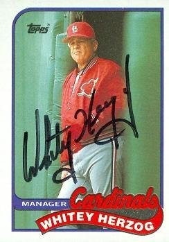 Whitey Herzog autographed Baseball Card (St. Louis Cardin...