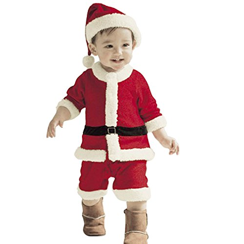 Multifit Boys Christmas Santa Costume Accessory Toddler Boys Santa Claus Costume Suit with (Boys Santa Claus Costume)