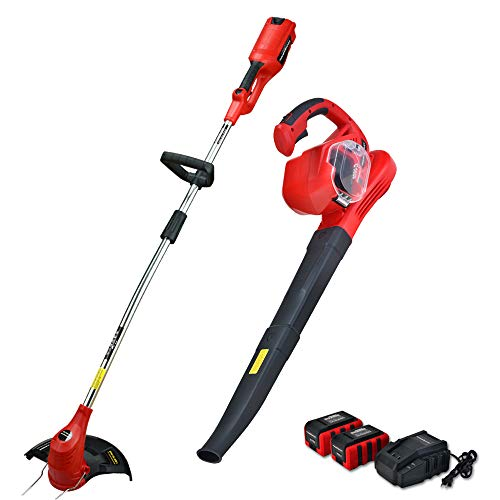 PowerSmart PS76210A Cordless String Trimmer and PS76201A Cordless Blower Combo Kit, 36V 3Ah Battery and Charger Included (Include Two Batteries and Charger)