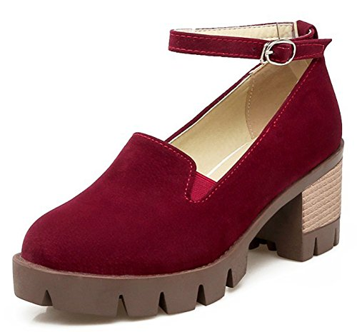 Easemax Womens Comfy Platform Mid Heels Chunky Ankle Strap Pumps Wine Red 8EEPP9ijk4