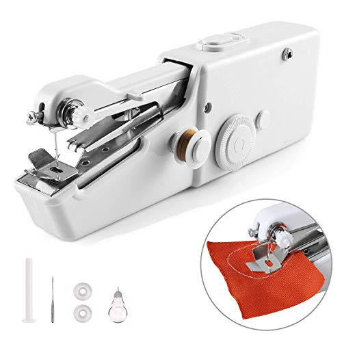 Portable Sewing Machine Handheld Mini Sewing Machine Meyuewal Cordless Craft Stitch Machine DIY Home Travel Stitching for Fabric Clothing Kids Cloth Pet Clothes (Battery Not ()