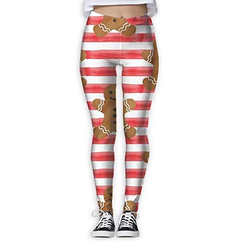 Stripes Gingerbread - Yoga Pants, Women's Power Flex Gingerbread Stripes Tummy Control Workout Running Leggings