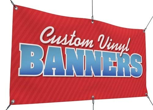 Promotional Four - Custom Vinyl Banners - Heavy Duty Banner Signs for Indoor or Outdoor Promotional Use - Four Corner Grommets - 15oz Vinyl Material