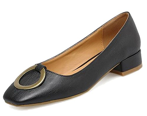 Square Low On Toe Buckle Womens Heel Shoes Black Chunky Elegant Top Easemax Slip Pumps Mid xwqptX8W