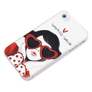 Cute Girl con Eyaglasses Caso duro del patrón para el iPhone 4/4S