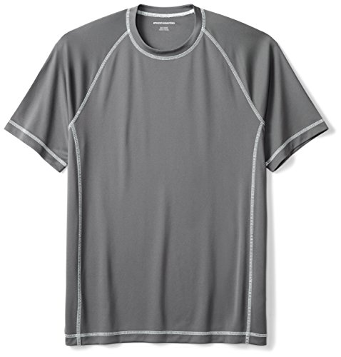 Amazon Essentials Men's Short-Sleeve Quick-Dry UPF 50 Swim Tee, Charcoal, Large by Amazon Essentials