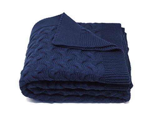 Soft 100% Cotton Throw Blanket, Knit Crochet Sweater Texture, for Couch Sofa Bed, Navy Blue 51 x 67 Inch (Navy Sofa For Throws)