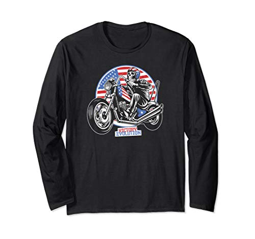 American Flag Motorcycle Rider Victory Evolution Men Gifts