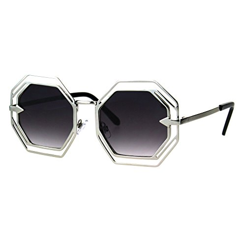 Womens Victorian Geometric Art Deco Metal Rim Octagon Retro Fashion Sunglasses Silver - Victorian Sunglasses Retro