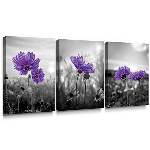 (SUMGAR Canvas Wall Art Bathroom Farmhouse Decor 3 Piece Flower Framed Paintings Floral Purple Pictures Grey Prints Gray Artwork Set,12x16 inch)