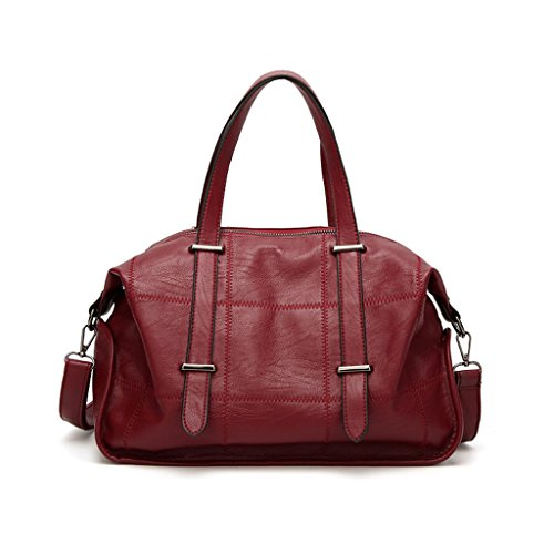 Bag Large Shoulder Leather Red Handbag Women's color Diagonal Capacity Fashion fxXdqftwg