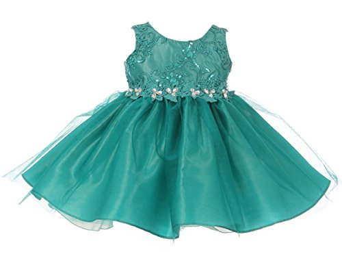 - Infant Girls Embroidered Rhinestone Ribbon Junior Bridesmaid Flower Girl Dress Jade Size L (G3592G)