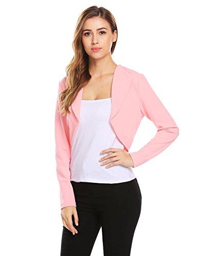 Soteer Women's Long Sleeve Open Front Cardigan Crop Jacket Pink Medium Pink Shrug