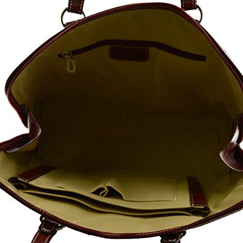Serviette En Cuir Véritable Pour Femme 1 Compartiment Couleur Rouge - Maroquinerie Fait En Italie - Cartable