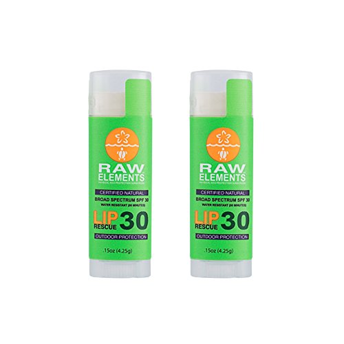 Rescue Balm Sun After (Raw Elements Outdoor Lip Rescue Certified Natural Sunscreen | Non Nano Zinc Oxide, 95% Organic, Very Water Resistant, Reef Safe, Non GMO, Cruelty Free, SPF 30 .15oz (Packaging May Vary) (2 Pack))