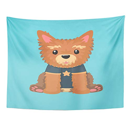 Emvency Tapestry Wall Hanging Yellow Animal of Yorkshire Terrier Dog The Puppy Wears with Star Yellow Animal Breed 60