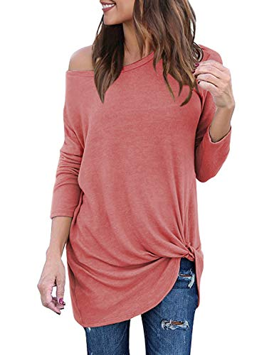 Lookbook Store Women's Casual Soft Long Sleeves Loose Fit Knot Side Twist Knit Blouse Solid Coral Top Shirts Size XXL 20 22 (Long Sleeve Tee Distressed)