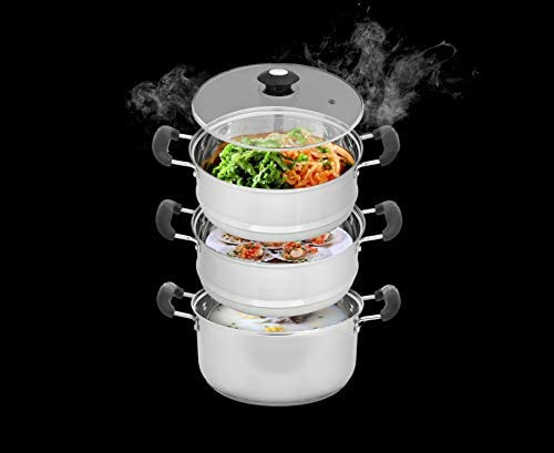 """41%2B83ir6EUL. AC CONCORD 10"""" Stainless Steel 3 Tier Steamer Steaming Pot Cookware 24 CM (Induction Compatible)     Induction Compatible10"""" Full Stainless Steel 3 Tier Steamer PotVented Glass Lid for Easy Viewing of Cooking ContentsExtra Heavy Triply Base for Even Heat Distribution. Extra Wide Handles for Easy CarryDishwasher Safe. Induction CompatibleSize: Each Tier is 10"""" Wide and Entire Unit is 9.6"""" Height"""