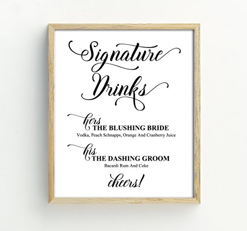 Custom Wedding Bride And Groom Signature Drinks Menu Personalised Party Print Bar Menu Sign, Drinks Bar Menu Signage