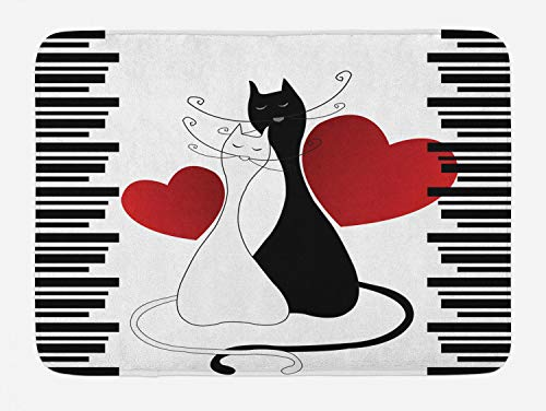 (Ambesonne Cats Bath Mat, Romantic Kittens Pets Couple Two Tails Hearts and Black Stripes Valentine's Love, Plush Bathroom Decor Mat with Non Slip Backing, 29.5 W X 17.5 L Inches, White Black Red)