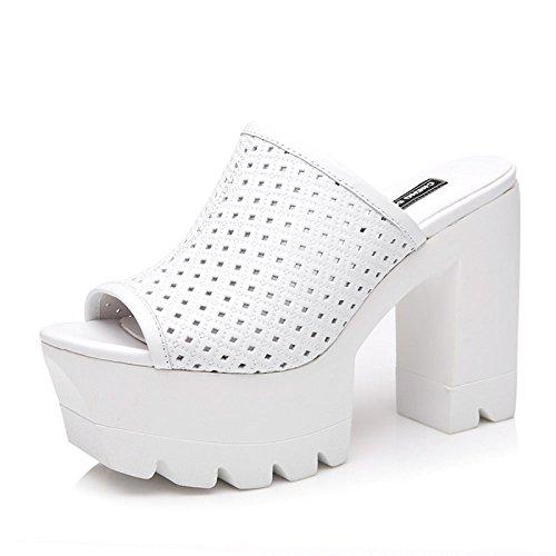 Sandalias Y Zapatillas De Tacón Alto Zapatos con Suela Gruesa Sandalias Y Zapatillas De Señora Sandalias De Moda con Altura DE 11 Cm Ventilación De Cuero White