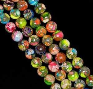 (8MM Imperial Jasper Gemstone Grade AA Rainbow Round 8MM Loose Beads 16