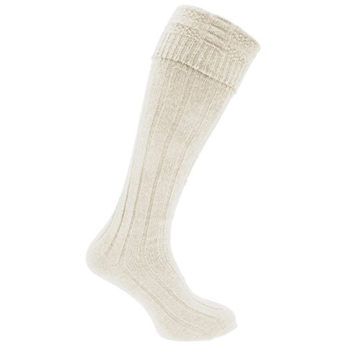 Mens Scottish Highland Wear Wool Kilt Hose Socks (1 Pair) (7-12 US) (Cream) ()