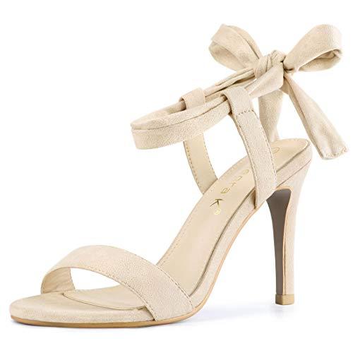 Allegra K Women's Tie Up Stiletto Beige High Heels Sandals - 5 M - Inch High 5 3/4 Stiletto Heel