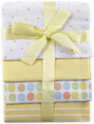 Luvable Friends 4-Pack Flannel Receiving Blankets, Yellow