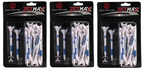 Zero Friction Golf- 3 Prong Maxx 2-3/4 Golf Tees White Blue (3 Pack - 72 Tees -