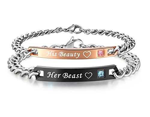 (His or Hers Matching Set His Beauty Her Beast Titanium Stainless Steel Couple Bracelet in a Gift Box (A)