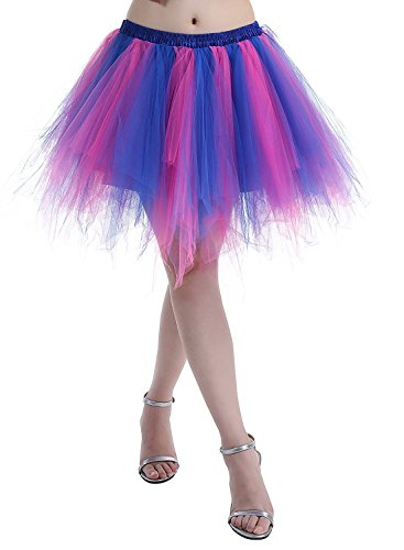 Adult Women 80's Tutu Skirt Layered Tulle Petticoat Halloween Tutu Fuschia/Royal Blue]()