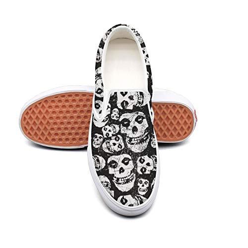 Lloowwxxp Punk Skull Misfits Ghost Gothic Women's Canvas Classic Slip-On Skate Shoe (Skateboard White Skull Shoe)