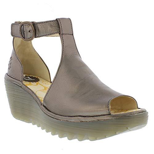 FLY London Womens YOLA Idra Platform Leather Peep Toe Wedge Heel Sandals - Bronze - US9/EU40